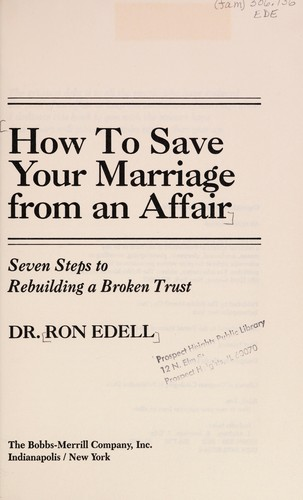 How to save your marriage from an affair (1983 edition