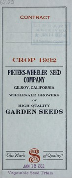 Cover of: Contract crop 1932 | Pieters-Wheeler Seed Company