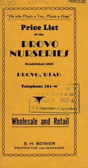 Cover of: Price list of the Provo Nurseries | Provo Nurseries