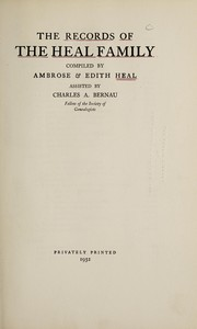 Cover of: Records of the Heal family | Heal, Ambrose Sir