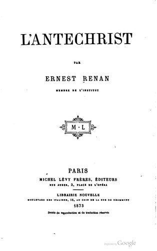 L' Antechrist by Ernest Renan