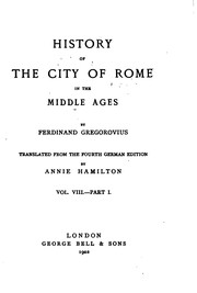 Cover of: History of the city of Rome in the Middle Ages