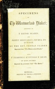 Cover of: Specimens of the Westmorland dialect