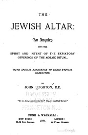 Cover of: The Jewish altar | Leighton, John D. D.