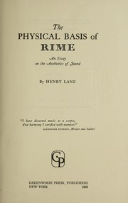 Cover of: The physical basis of rime | Henry Lanz