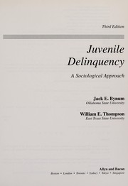 Cover of: Juvenile delinquency | Jack E. Bynum