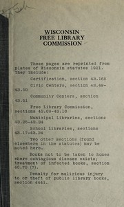 Laws of Wisconsin relating to free public libraries and the Free Library Commission