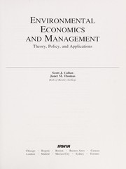 Cover of: Environmental economics and management | Scott Callan