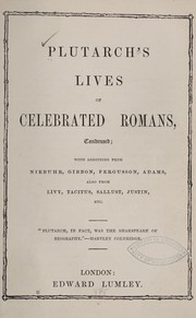 Cover of: Plutarch's Lives of celebrated Romans, condensed | Plutarch