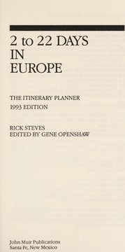 Cover of: Two to Twenty-Two Days in Europe