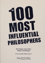 Cover of: The 100 most influential philosophers | Brian Duignan