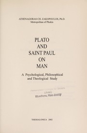 Cover of: Plato and Saint Paul on Man, A Psychological, Philosophical and Theological Study
