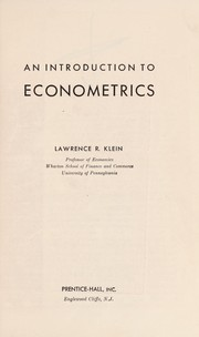 Cover of: Introduction to Econometrics