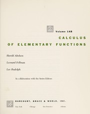 Cover of: Calculus of elementary functions
