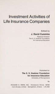 Cover of: Investment activities of life insurance companies |
