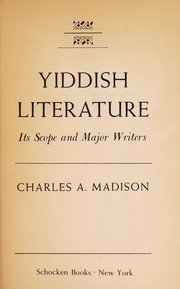 Cover of: Yiddish literature | Charles Allan Madison
