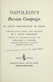Cover of: Napoleon's Russian campaign
