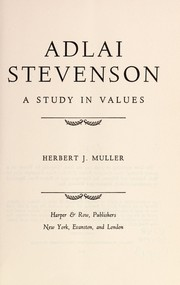Cover of: Adlai Stevenson