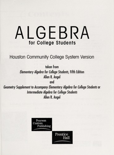 Algebra for College Students Houston Community College System Version by