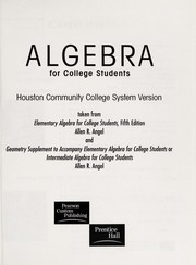 Cover of: Algebra for College Students Houston Community College System Version |