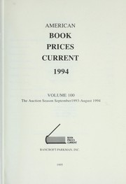 Cover of: American Book Prices Current 1994