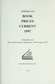 Cover of: American Book Prices Current 1997 (American Book Prices Current)