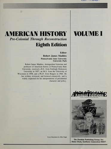 American history. pre-colonial through reconstruction by Robert James Maddox