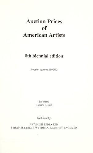 Auction Prices of American Artists 1990 - 1992 (Eighth Edition) by