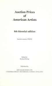 Cover of: Auction Prices of American Artists 1990 - 1992 (Eighth Edition)