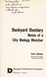 Cover of: Backyard Bestiary