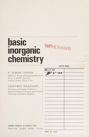Cover of: Cotton Basic Inorganic Chemistry | F. Albert Cotton, Geoffrey Wilkinson