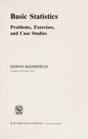 Cover of: Basic statistics | Edwin Mansfield