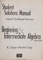Cover of: Beginning & Intermediate Algebra, Second Edition (Student Solutions Manual)