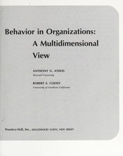Cover of: Behavior in organizations | Anthony G. Athos