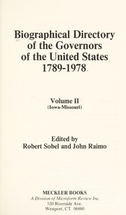 Cover of: Biographical directory of the governors of the United States, 1789-1978
