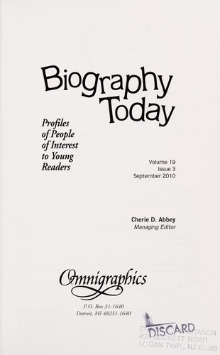 Biography today by Cherie D. Abbey