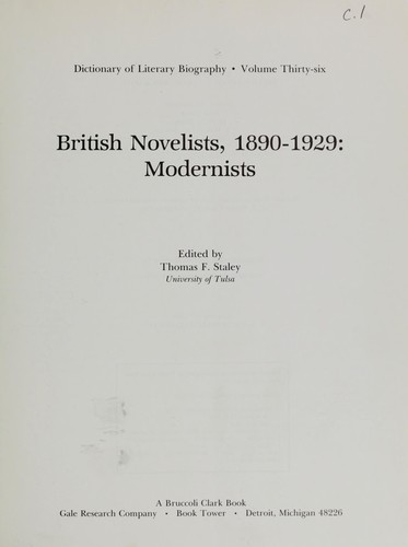British novelists, 1890-1929 by edited by Thomas F. Staley.