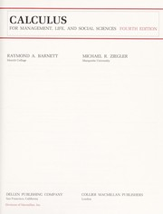 Cover of: Calculus for management, life, and social sciences