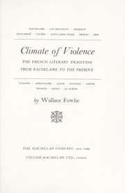 Cover of: Climate of violence | Wallace Fowlie