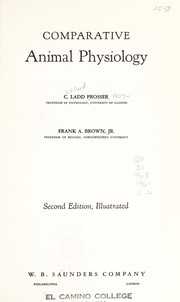 Cover of: Comparative animal physiology | C. Ladd Prosser