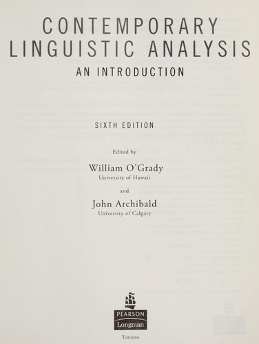 Contemporary linguistic analysis by John Archibald, William D. O'Grady