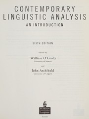 Cover of: Contemporary linguistic analysis | John Archibald, William D. O'Grady