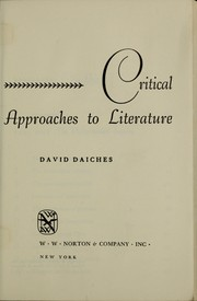 Cover of: Critical approaches to literature