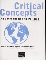 Cover of: Critical concepts | M. Janine Brodie, Sandra Rein