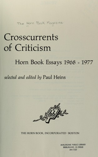 Crosscurrents of criticism by selected and edited by Paul Heins.