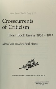 Cover of: Crosscurrents of criticism | selected and edited by Paul Heins.