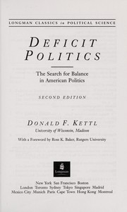 Cover of: Deficit politics | Donald F. Kettl