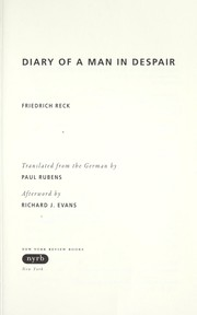 Cover of: Diary of a man in despair