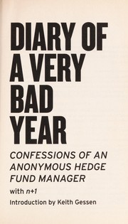 Cover of: Diary of a very bad year |
