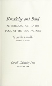 Cover of: Knowledge and belief